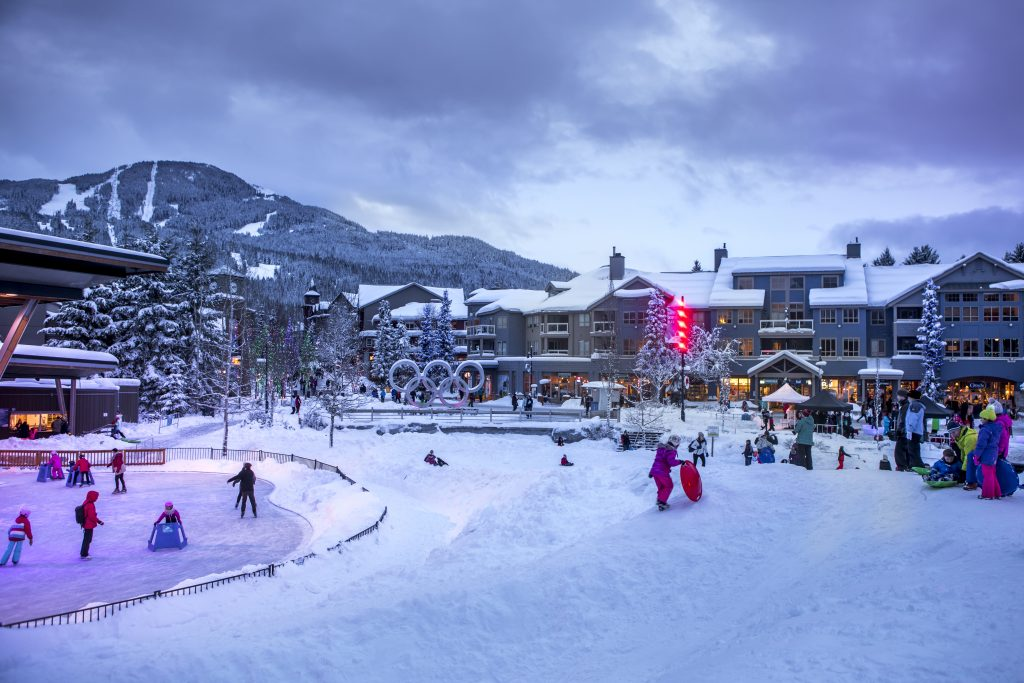 Whistler Olympic Plaza in winter.